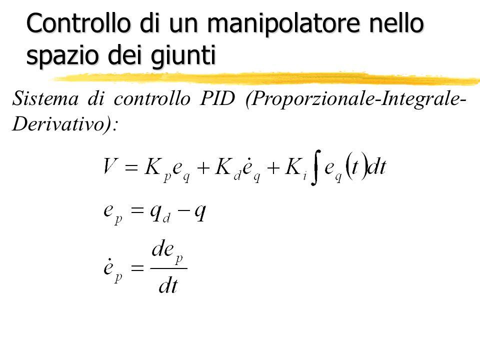 Controllo di un manipolatore nello spazio dei giunti Sistema di controllo PID (Proporzionale-Integrale- Derivativo):