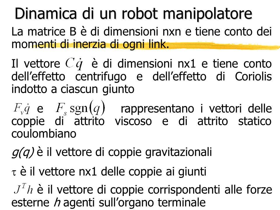 Dinamica di un robot manipolatore La matrice B è di dimensioni nxn e tiene conto dei momenti di inerzia di ogni link. Il vettore è di dimensioni nx1 e