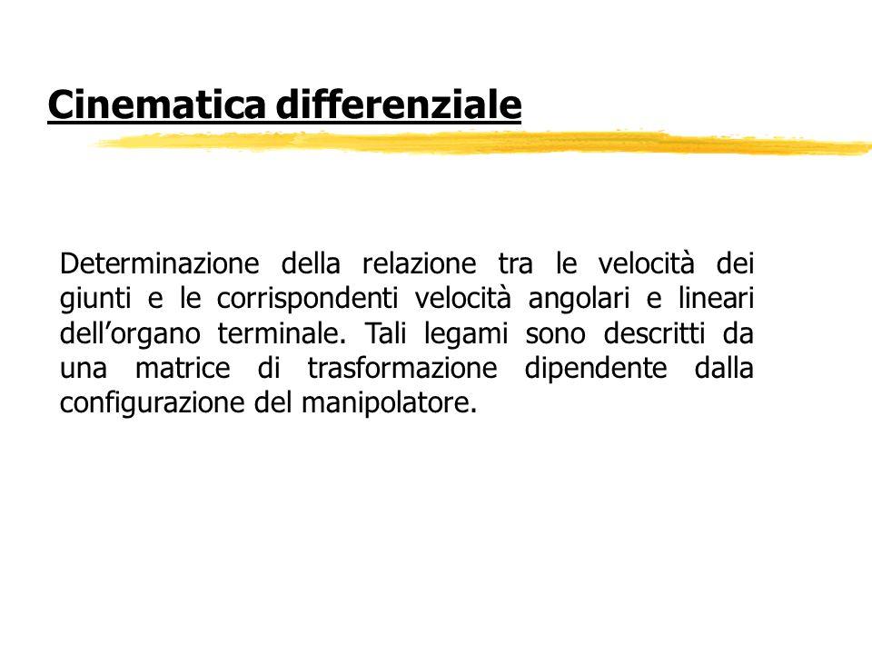 Determinazione della relazione tra le velocità dei giunti e le corrispondenti velocità angolari e lineari dellorgano terminale. Tali legami sono descr