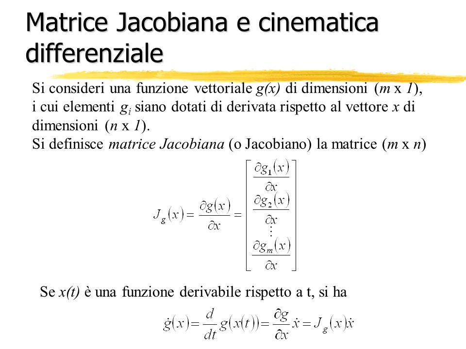 Matrice Jacobiana e cinematica differenziale Si consideri una funzione vettoriale g(x) di dimensioni (m x 1), i cui elementi g i siano dotati di deriv