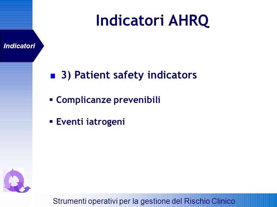 Indicatori AHRQ Strumenti operativi per la gestione del Rischio Clinico Indicatori 3) Patient safety indicators Complicanze prevenibili Eventi iatroge