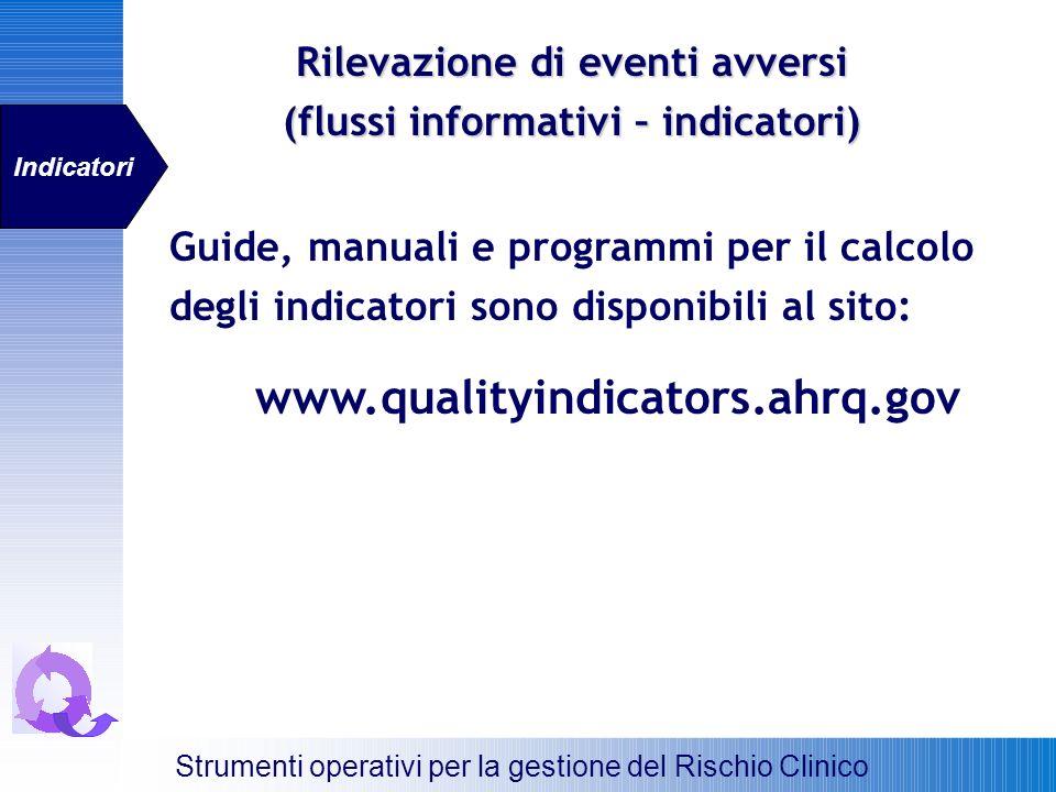 Guide, manuali e programmi per il calcolo degli indicatori sono disponibili al sito: www.qualityindicators.ahrq.gov Strumenti operativi per la gestion