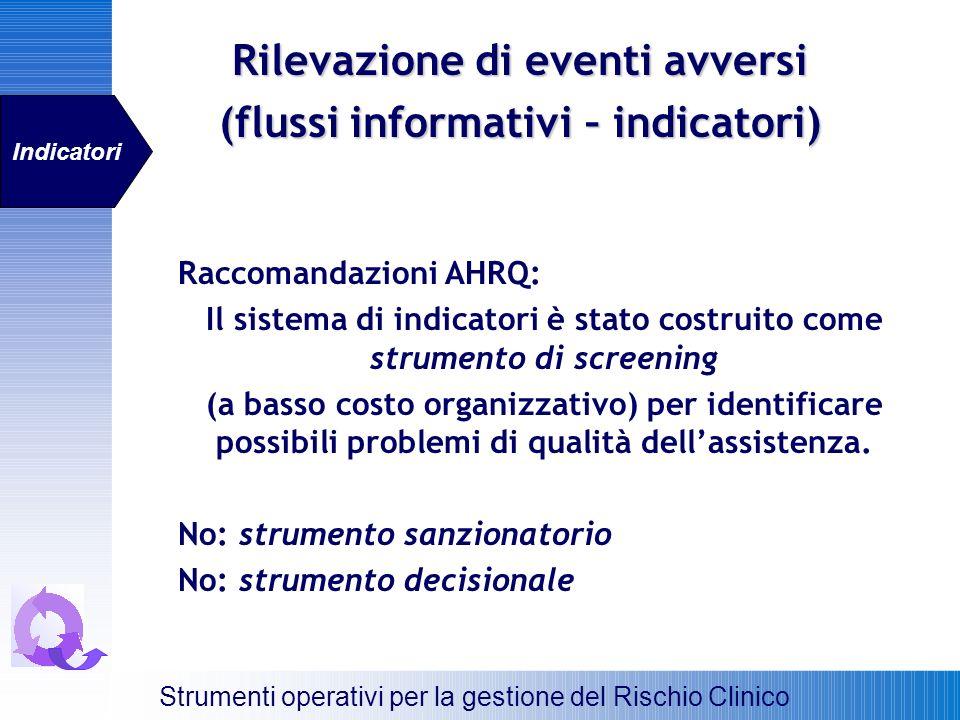 Raccomandazioni AHRQ: Il sistema di indicatori è stato costruito come strumento di screening (a basso costo organizzativo) per identificare possibili