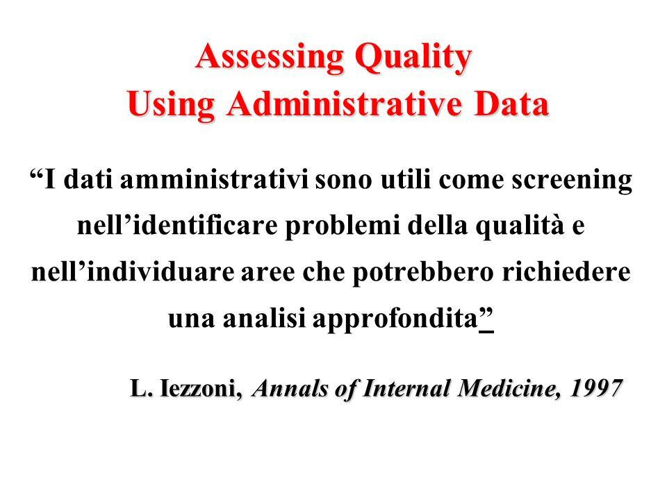 Assessing Quality Using Administrative Data I dati amministrativi sono utili come screening nellidentificare problemi della qualità e nellindividuare