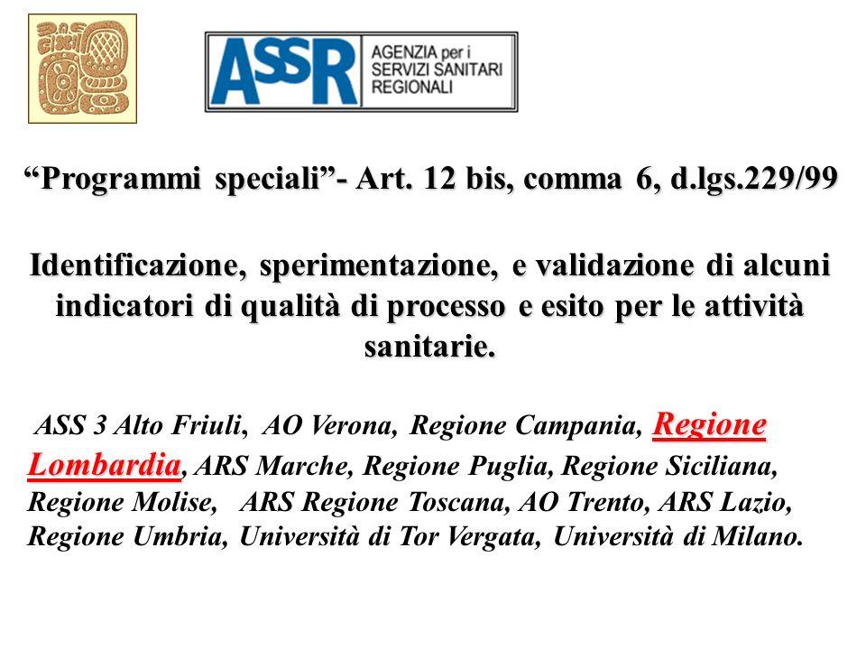 Identificazione, sperimentazione, e validazione di alcuni indicatori di qualità di processo e esito per le attività sanitarie. Regione Lombardia ASS 3