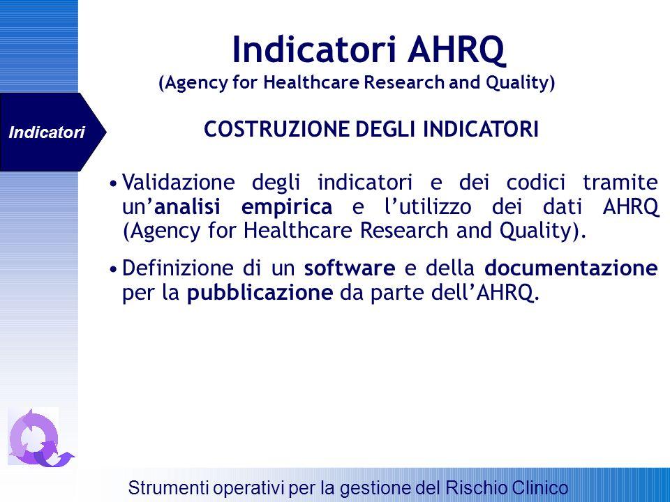 COSTRUZIONE DEGLI INDICATORI Validazione degli indicatori e dei codici tramite unanalisi empirica e lutilizzo dei dati AHRQ (Agency for Healthcare Res