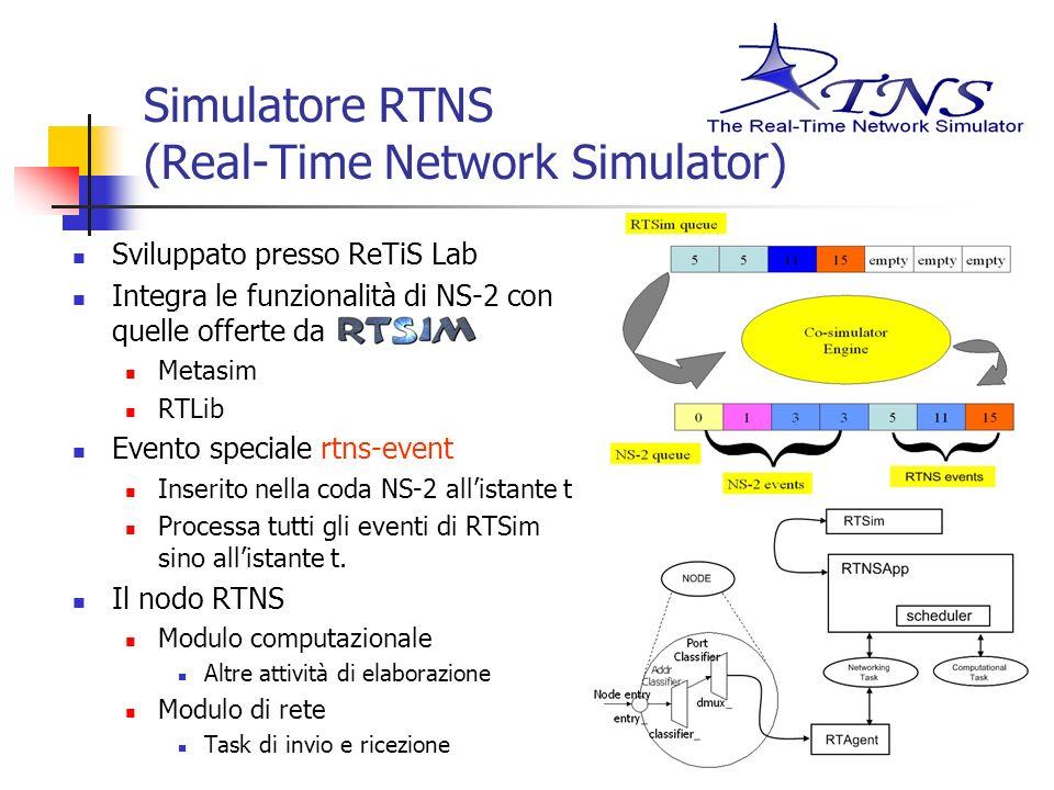 Simulatore RTNS (Real-Time Network Simulator) Sviluppato presso ReTiS Lab Integra le funzionalità di NS-2 con quelle offerte da Metasim RTLib Evento s