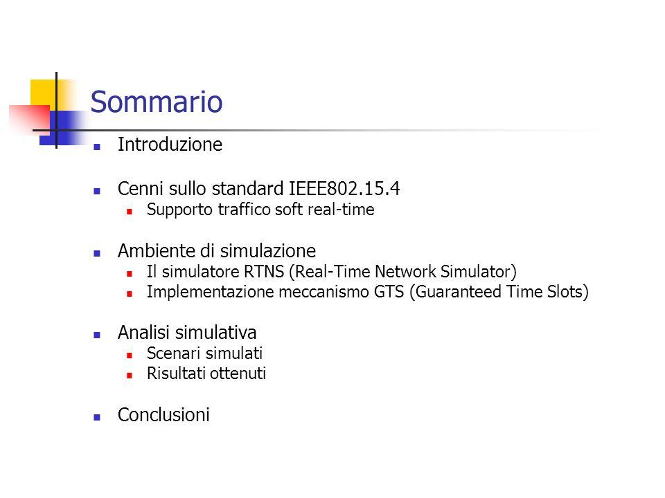 Sommario Introduzione Cenni sullo standard IEEE802.15.4 Supporto traffico soft real-time Ambiente di simulazione Il simulatore RTNS (Real-Time Network