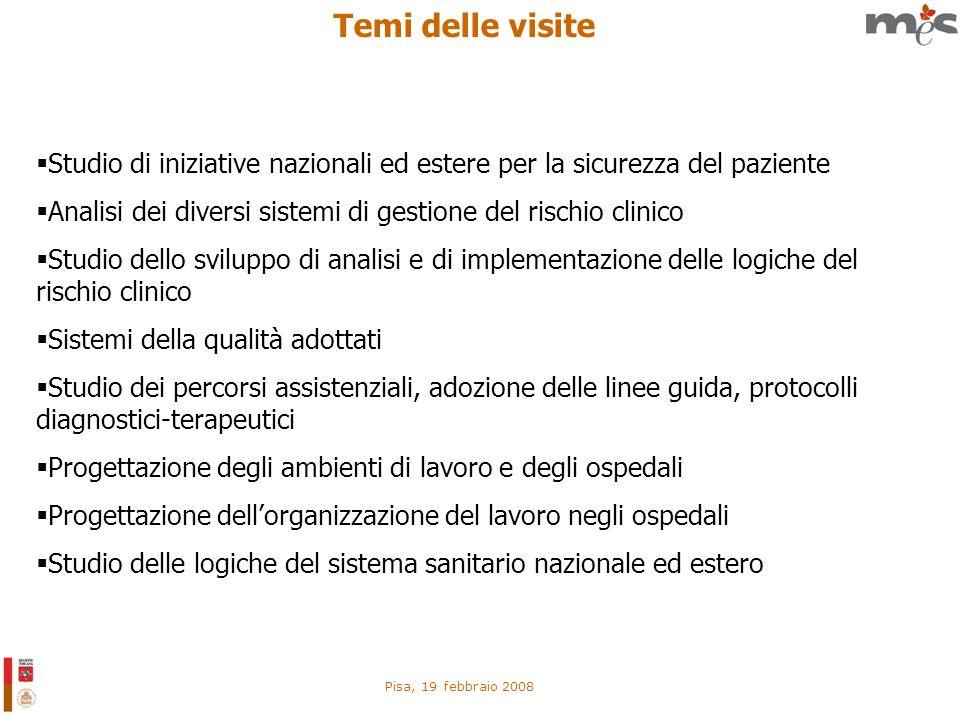 Pisa, 19 febbraio 2008 Temi delle visite Studio di iniziative nazionali ed estere per la sicurezza del paziente Analisi dei diversi sistemi di gestion