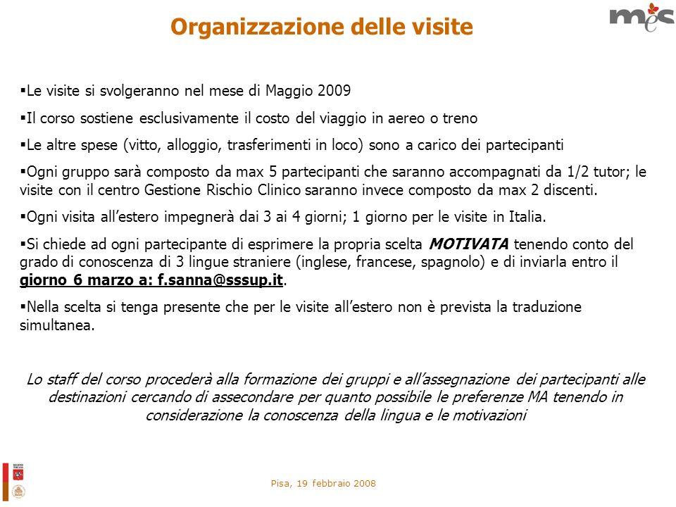 Pisa, 19 febbraio 2008 Organizzazione delle visite Le visite si svolgeranno nel mese di Maggio 2009 Il corso sostiene esclusivamente il costo del viag