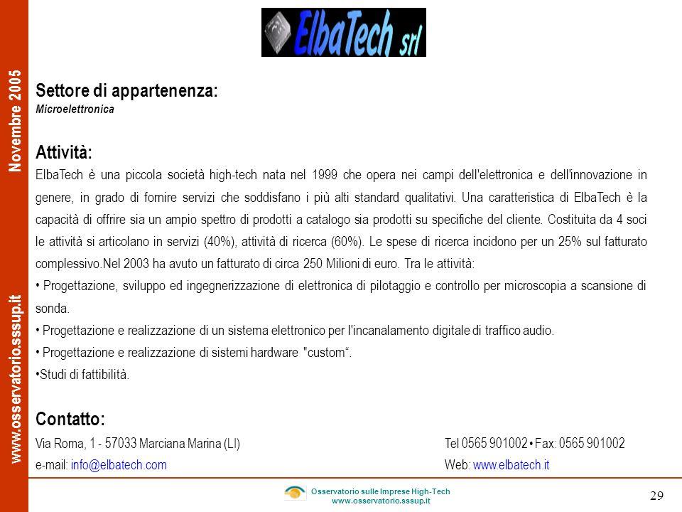 www.osservatorio.sssup.it Novembre 2005 Osservatorio sulle Imprese High-Tech www.osservatorio.sssup.it 29 Settore di appartenenza: Microelettronica At
