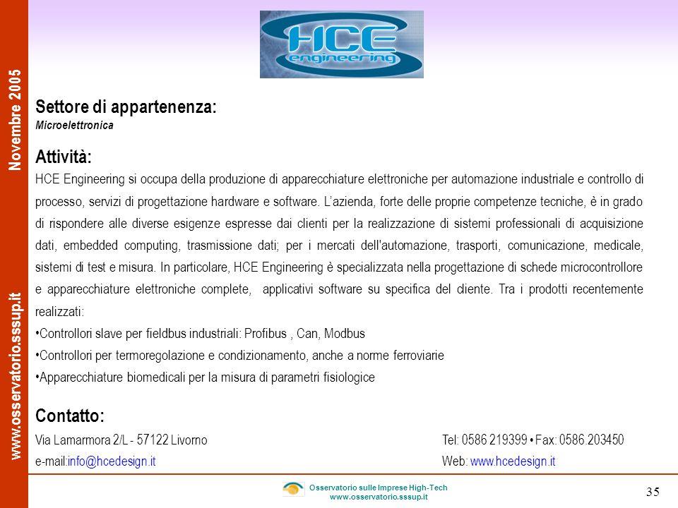 www.osservatorio.sssup.it Novembre 2005 Osservatorio sulle Imprese High-Tech www.osservatorio.sssup.it 35 Settore di appartenenza: Microelettronica At