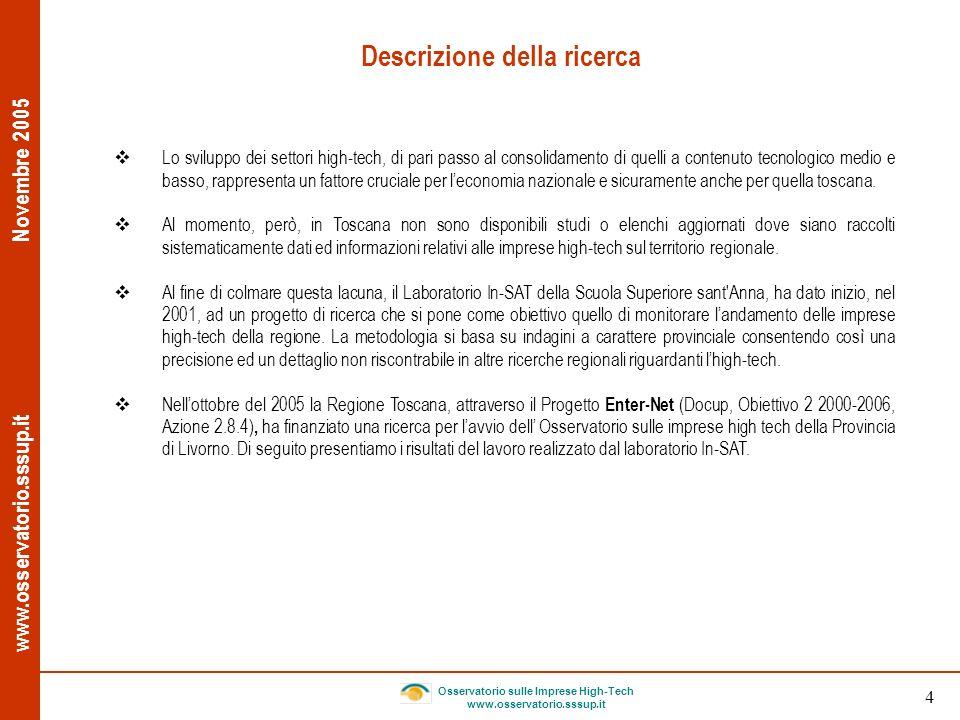 www.osservatorio.sssup.it Novembre 2005 Osservatorio sulle Imprese High-Tech www.osservatorio.sssup.it 5 Obiettivi della ricerca Identificare e analizzare il comparto delle imprese high-tech della Provincia di Livorno.