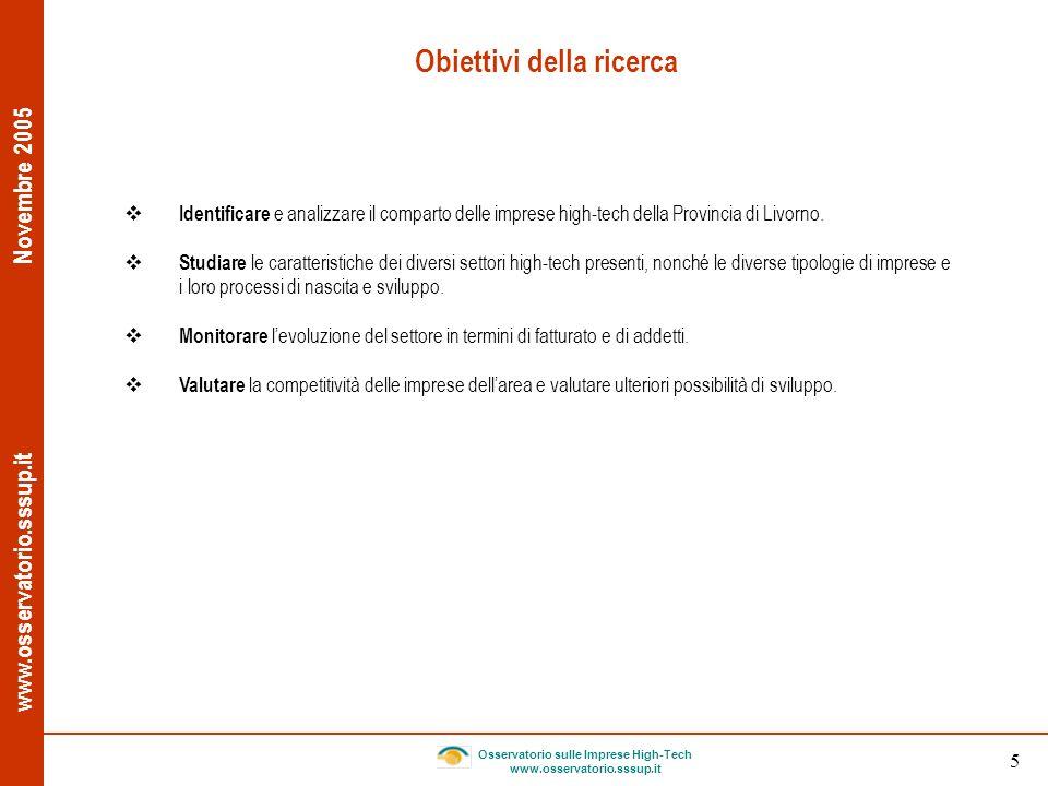 www.osservatorio.sssup.it Novembre 2005 Osservatorio sulle Imprese High-Tech www.osservatorio.sssup.it 5 Obiettivi della ricerca Identificare e analiz