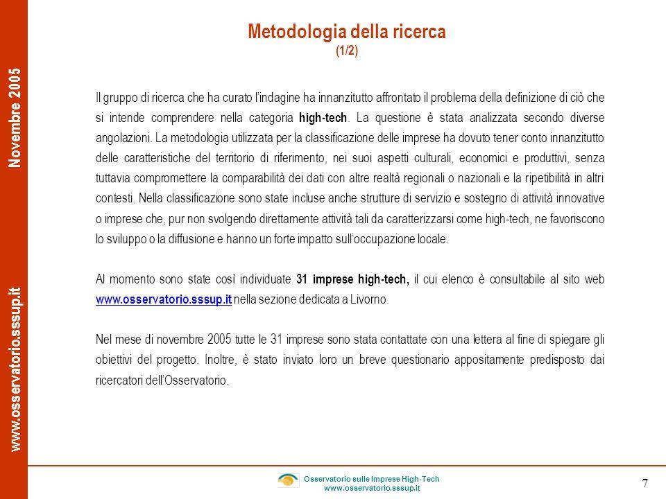 www.osservatorio.sssup.it Novembre 2005 Osservatorio sulle Imprese High-Tech www.osservatorio.sssup.it 7 Metodologia della ricerca (1/2) Il gruppo di