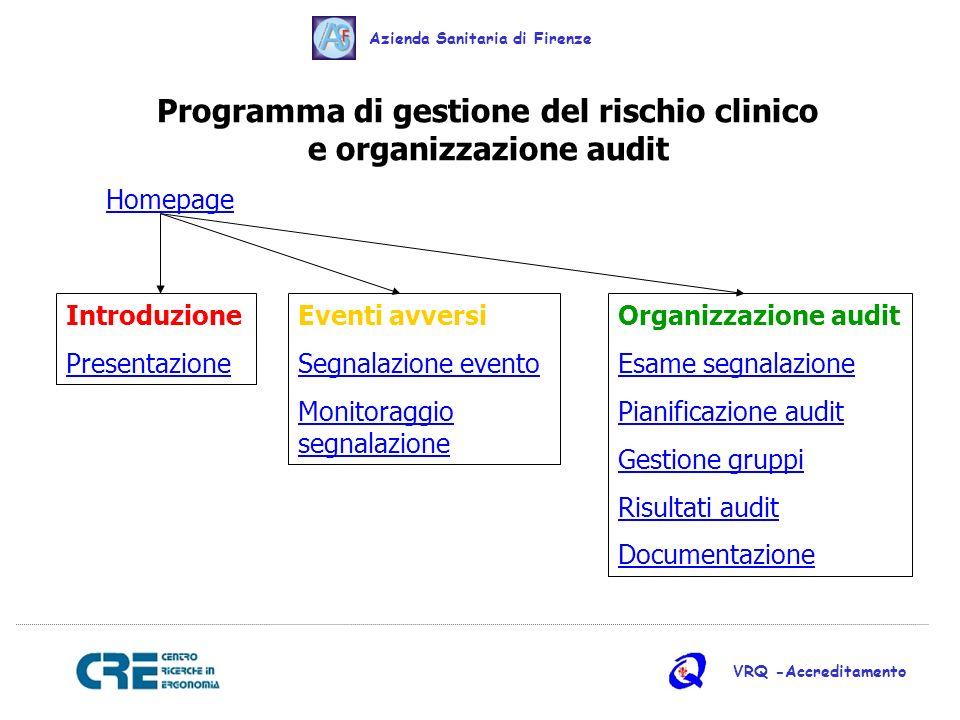 Programma di gestione del rischio clinico e organizzazione audit Homepage Introduzione Presentazione Eventi avversi Segnalazione evento Monitoraggio s