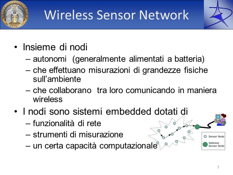 Wireless Sensor Network Insieme di nodi –autonomi (generalmente alimentati a batteria) –che effettuano misurazioni di grandezze fisiche sullambiente –