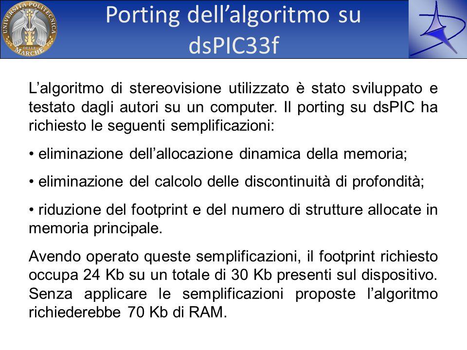 Porting dellalgoritmo su dsPIC33f Lalgoritmo di stereovisione utilizzato è stato sviluppato e testato dagli autori su un computer. Il porting su dsPIC