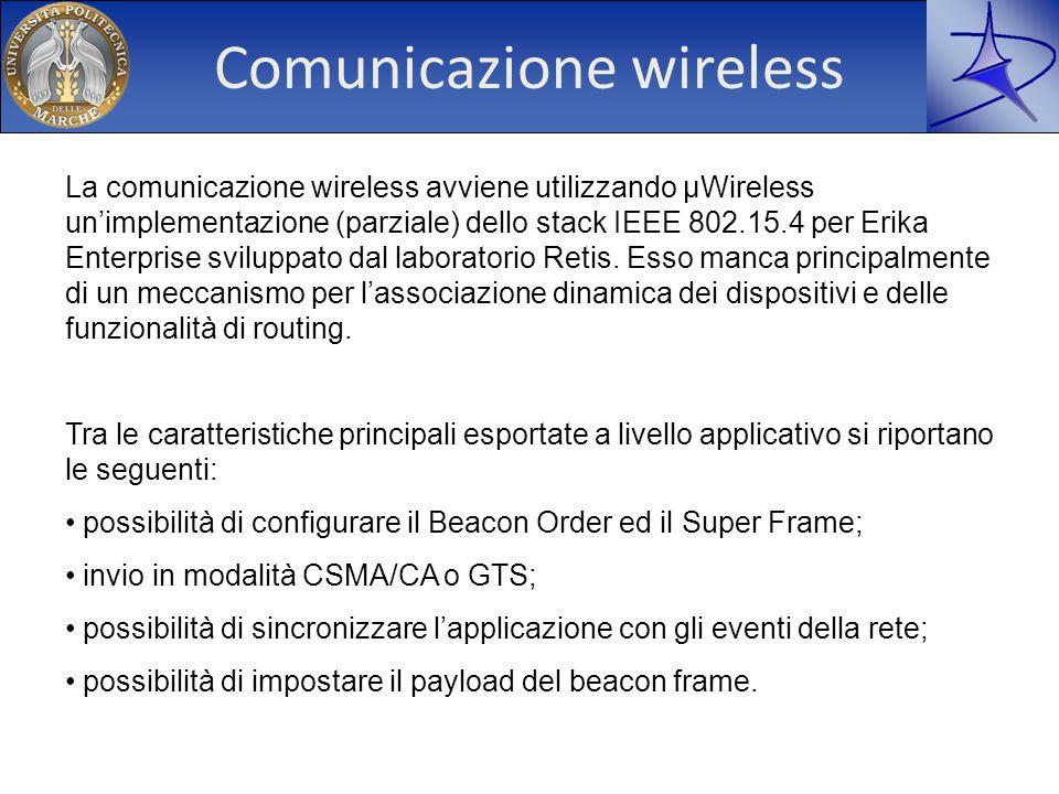 Comunicazione wireless La comunicazione wireless avviene utilizzando µWireless unimplementazione (parziale) dello stack IEEE 802.15.4 per Erika Enterp