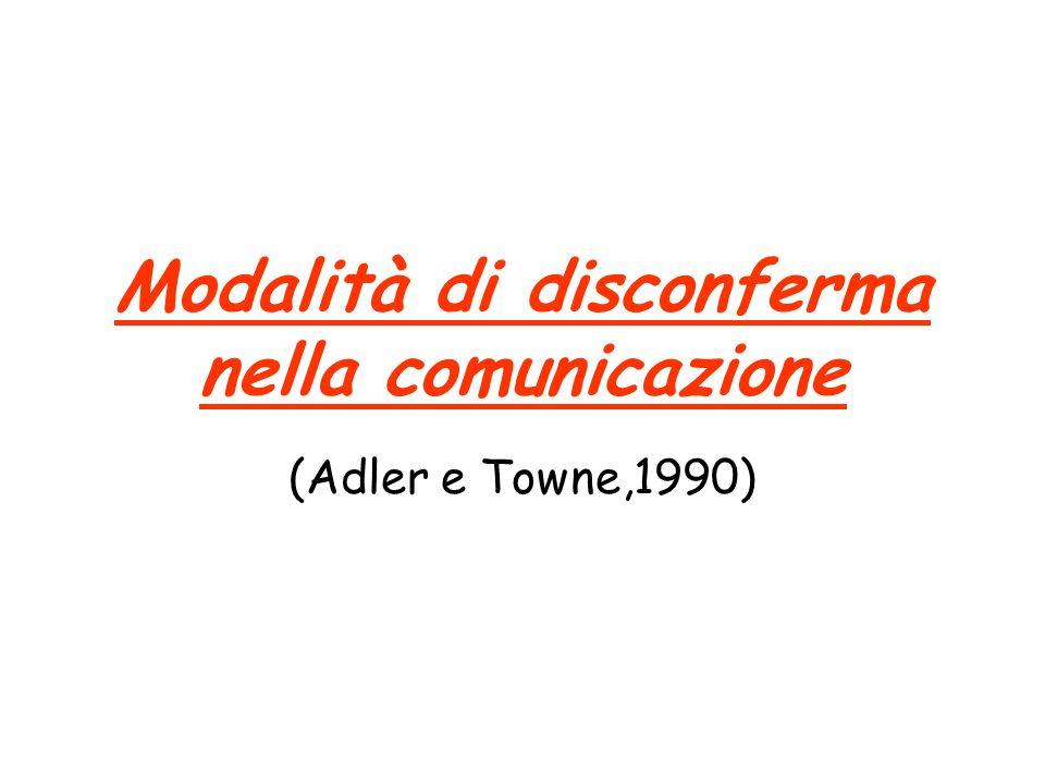 Modalità di disconferma nella comunicazione (Adler e Towne,1990)