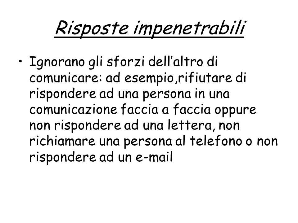 Risposte impenetrabili Ignorano gli sforzi dellaltro di comunicare: ad esempio,rifiutare di rispondere ad una persona in una comunicazione faccia a faccia oppure non rispondere ad una lettera, non richiamare una persona al telefono o non rispondere ad un e-mail