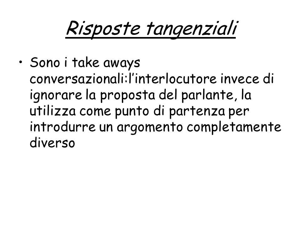 Risposte tangenziali Sono i take aways conversazionali:linterlocutore invece di ignorare la proposta del parlante, la utilizza come punto di partenza per introdurre un argomento completamente diverso