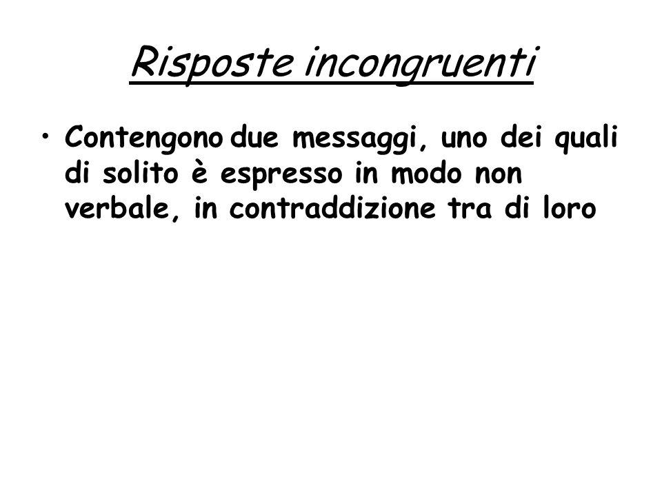 Risposte incongruenti Contengono due messaggi, uno dei quali di solito è espresso in modo non verbale, in contraddizione tra di loro