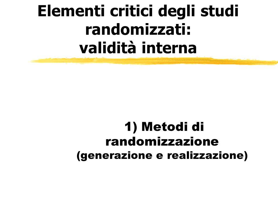 Elementi critici degli studi randomizzati: validità interna 1) Metodi di randomizzazione (generazione e realizzazione)