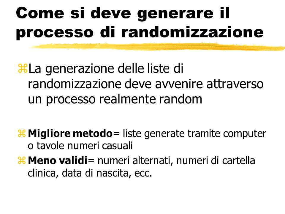 Come si deve generare il processo di randomizzazione zLa generazione delle liste di randomizzazione deve avvenire attraverso un processo realmente ran