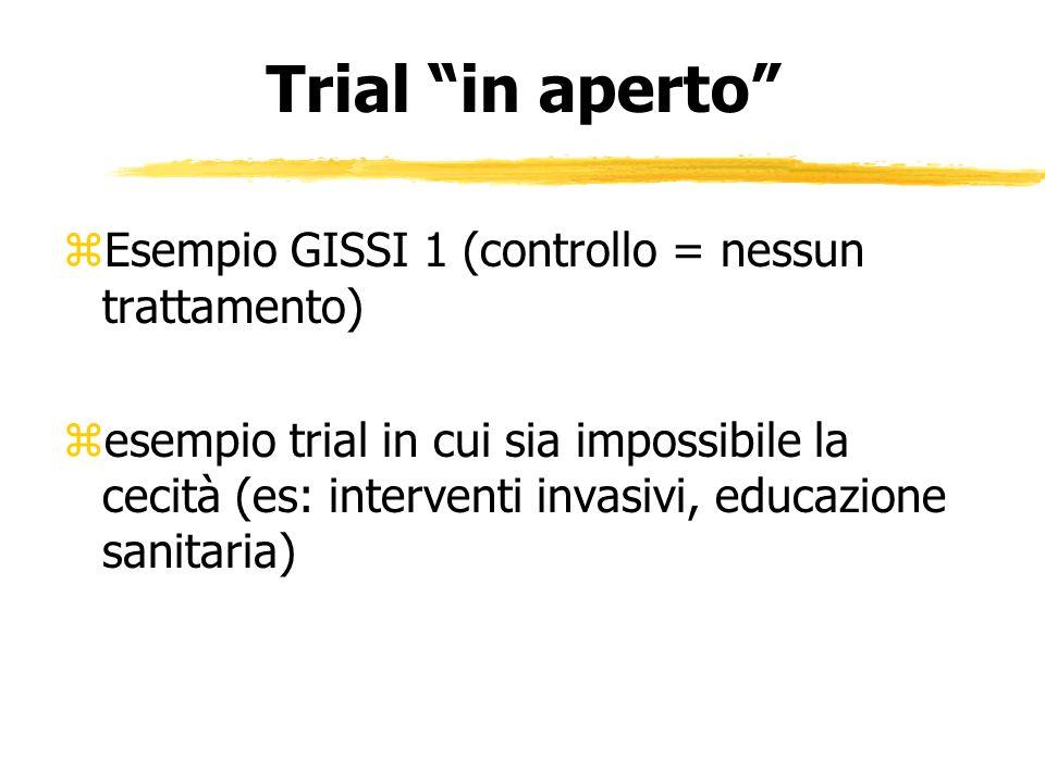 Trial in aperto zEsempio GISSI 1 (controllo = nessun trattamento) zesempio trial in cui sia impossibile la cecità (es: interventi invasivi, educazione