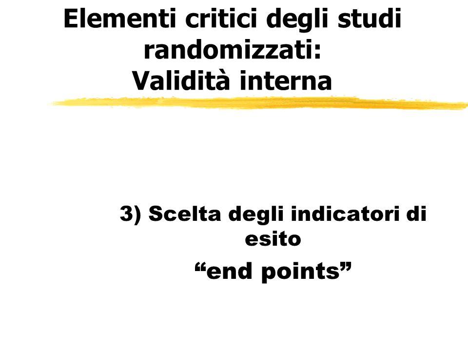 Elementi critici degli studi randomizzati: Validità interna 3) Scelta degli indicatori di esito end points
