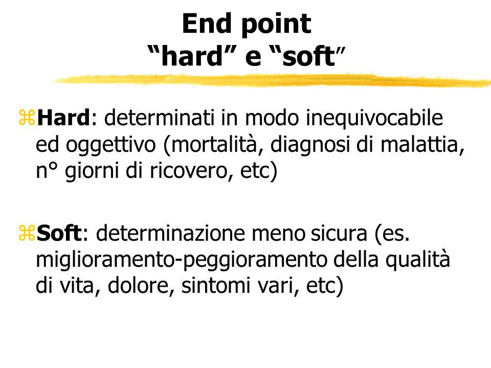End point hard e soft zHard: determinati in modo inequivocabile ed oggettivo (mortalità, diagnosi di malattia, n° giorni di ricovero, etc) zSoft: dete