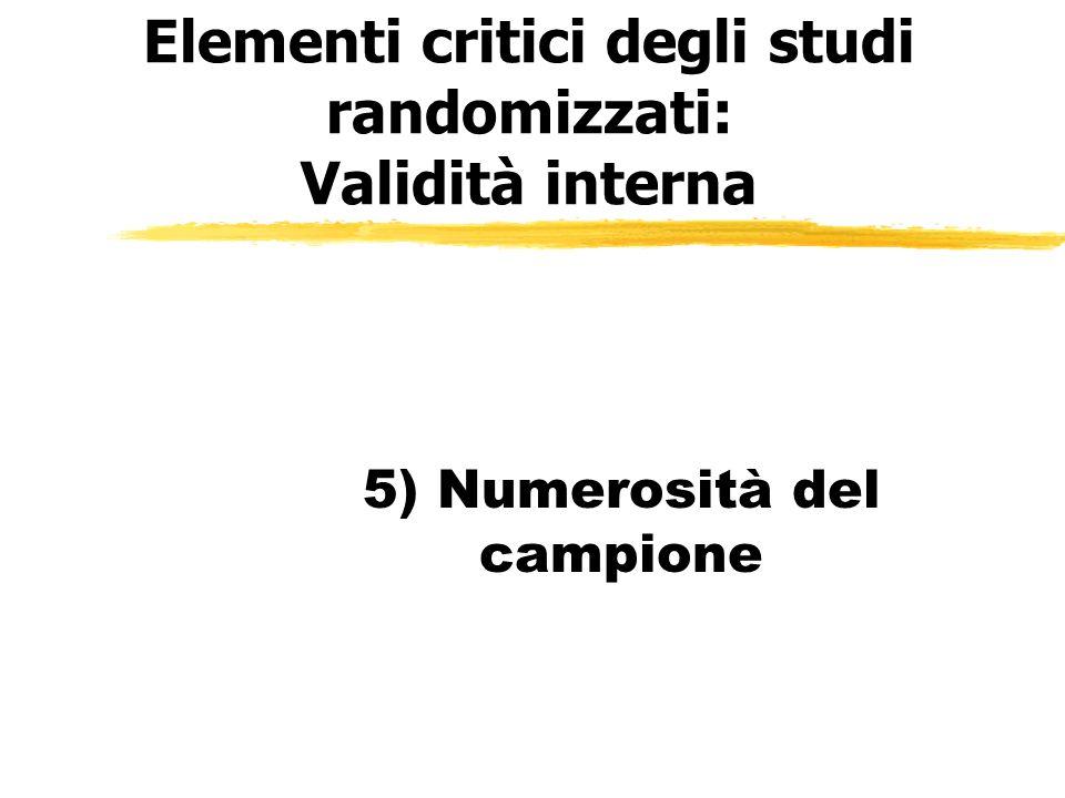 Elementi critici degli studi randomizzati: Validità interna 5) Numerosità del campione