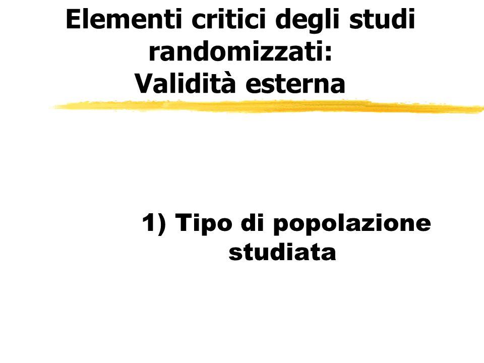 Elementi critici degli studi randomizzati: Validità esterna 1) Tipo di popolazione studiata