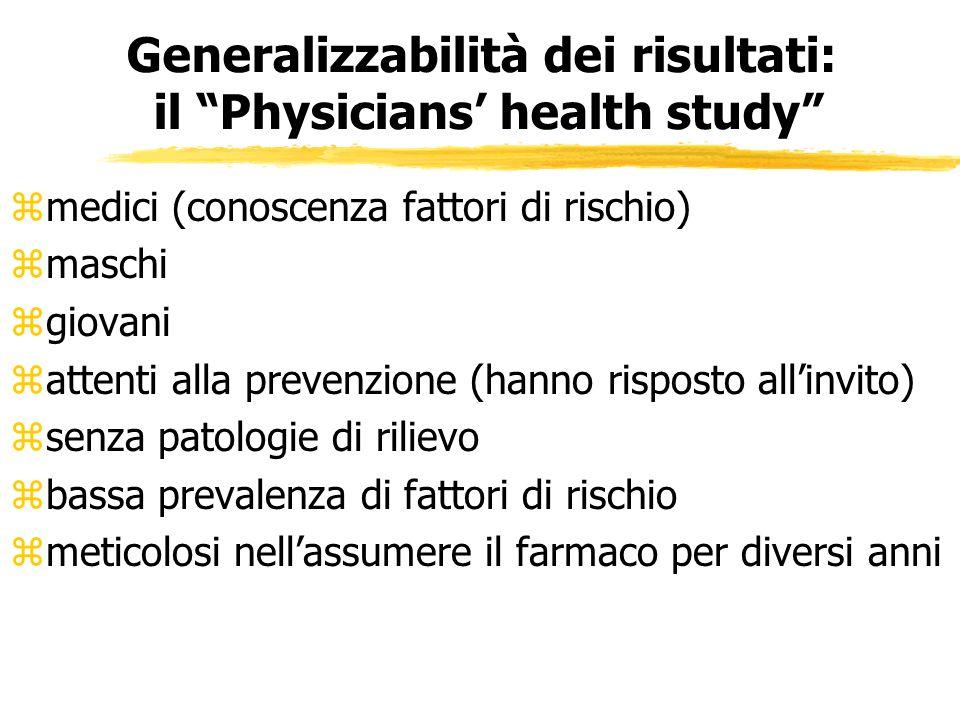 Generalizzabilità dei risultati: il Physicians health study zmedici (conoscenza fattori di rischio) zmaschi zgiovani zattenti alla prevenzione (hanno