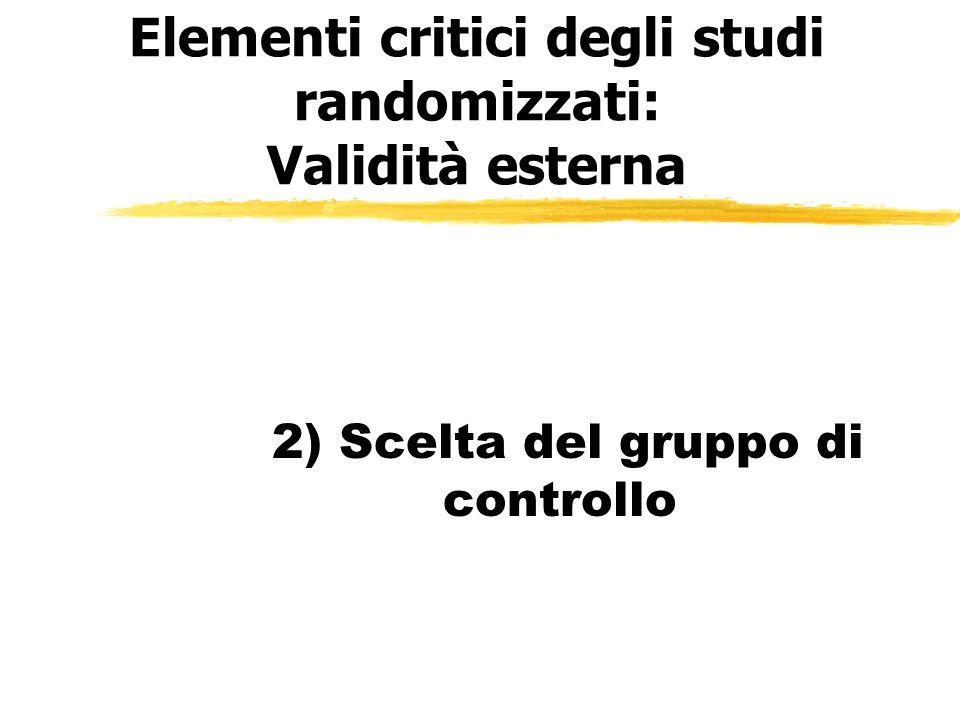 Elementi critici degli studi randomizzati: Validità esterna 2) Scelta del gruppo di controllo