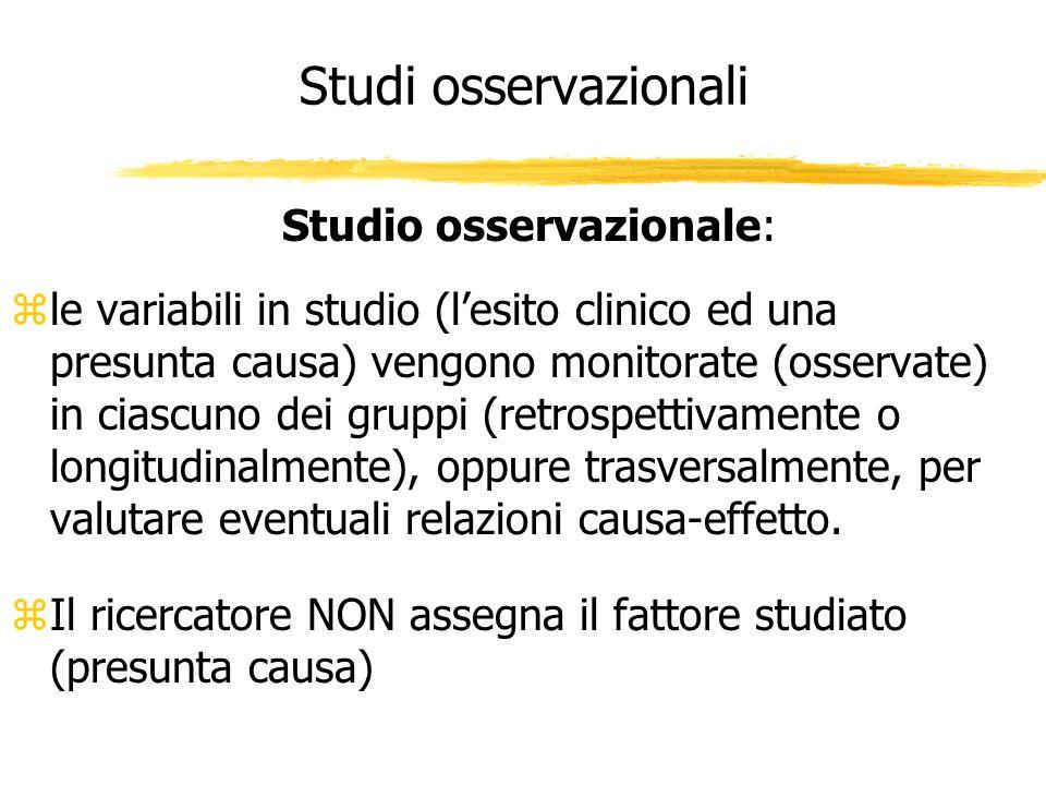 Studi osservazionali Studio osservazionale: zle variabili in studio (lesito clinico ed una presunta causa) vengono monitorate (osservate) in ciascuno