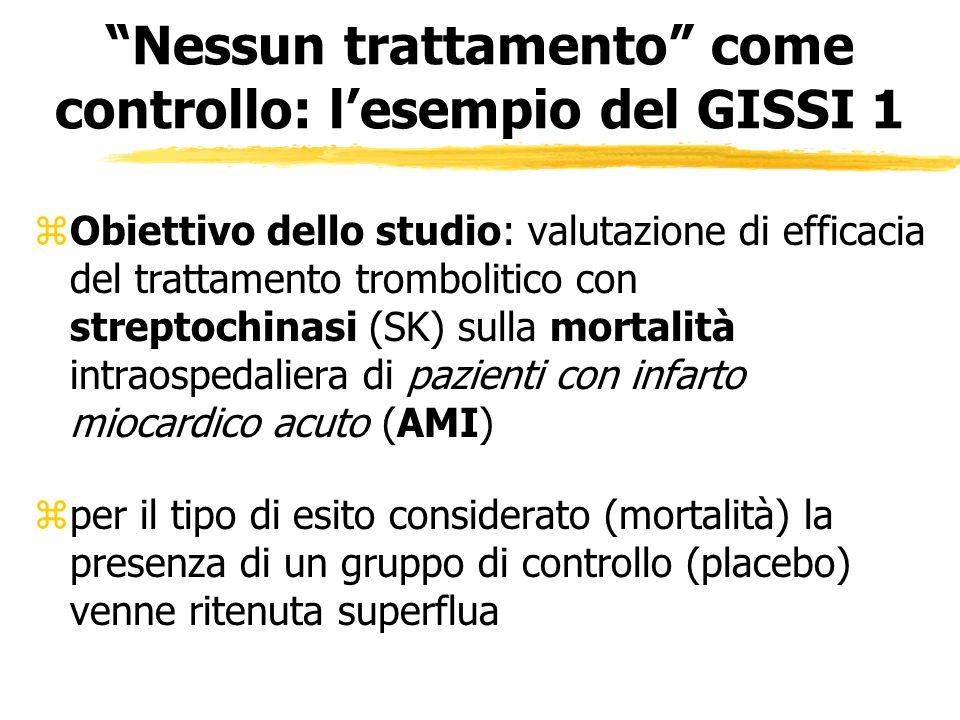 Nessun trattamento come controllo: lesempio del GISSI 1 zObiettivo dello studio: valutazione di efficacia del trattamento trombolitico con streptochin