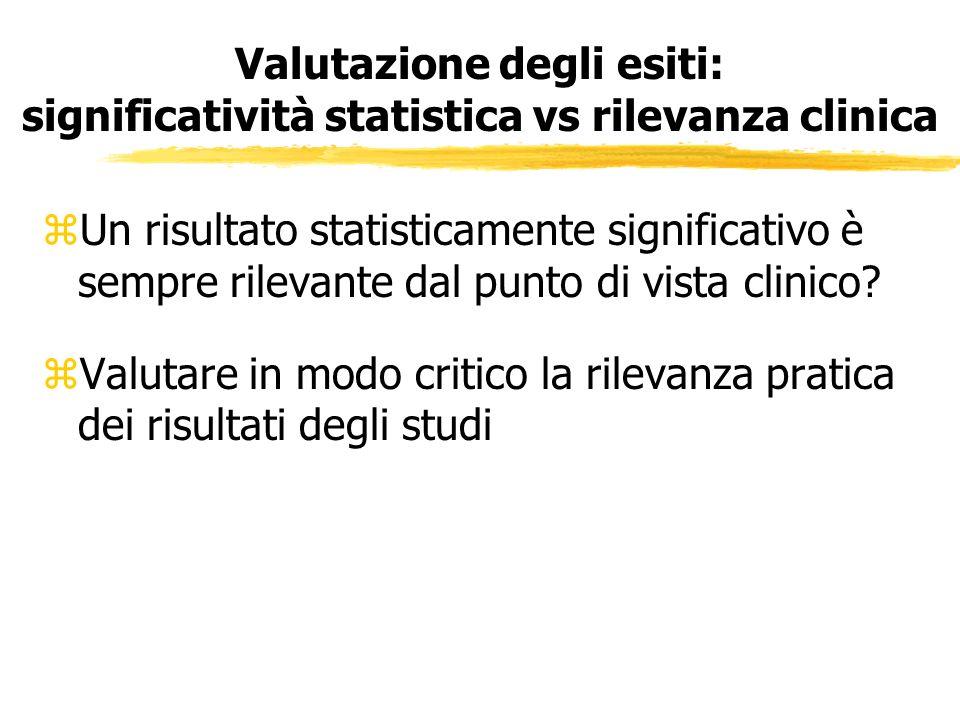 Valutazione degli esiti: significatività statistica vs rilevanza clinica zUn risultato statisticamente significativo è sempre rilevante dal punto di v