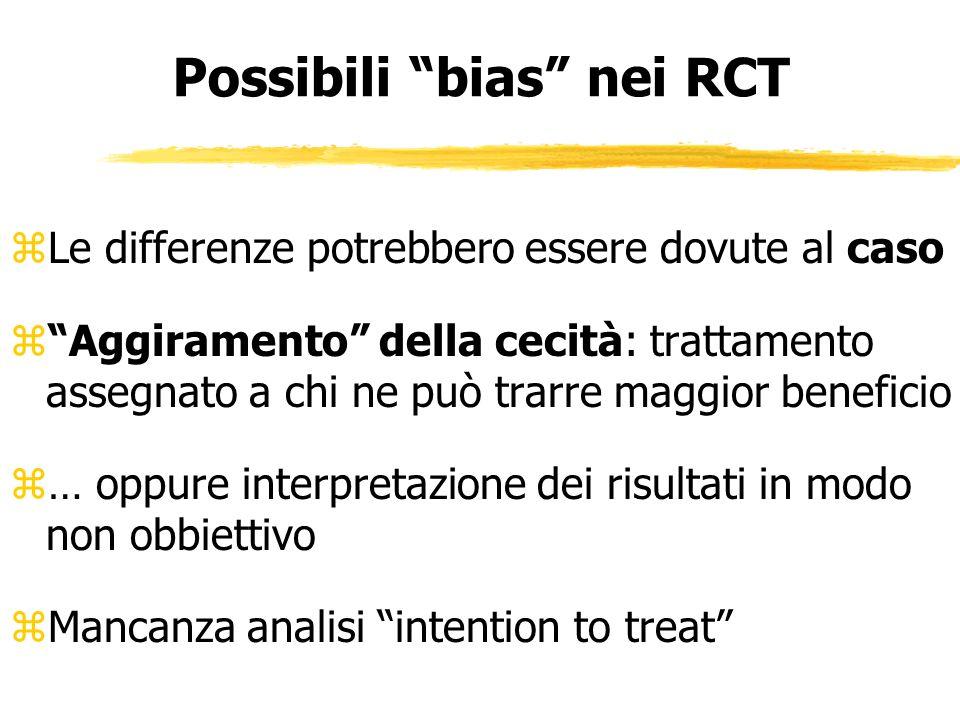Possibili bias nei RCT zLe differenze potrebbero essere dovute al caso zAggiramento della cecità: trattamento assegnato a chi ne può trarre maggior be