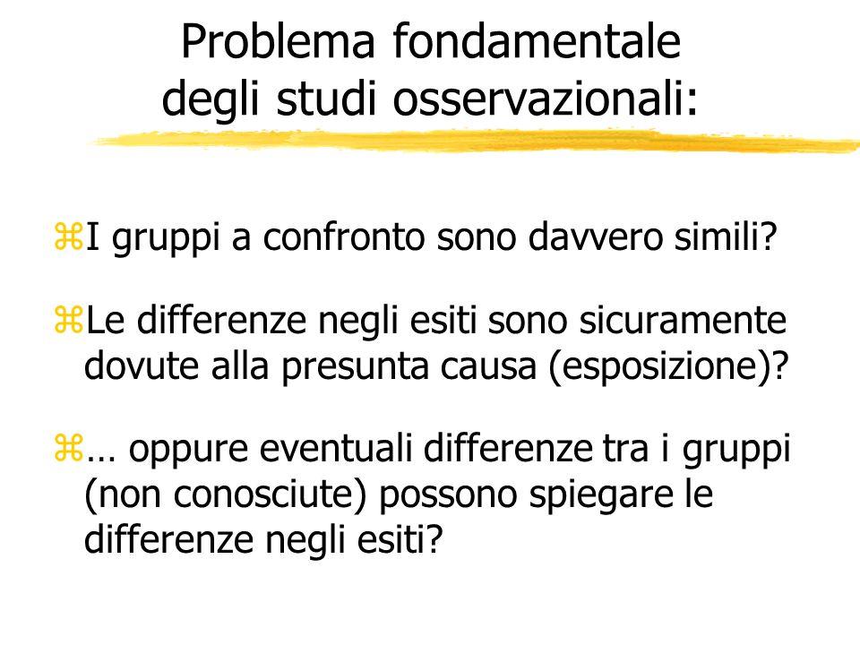 Problema fondamentale degli studi osservazionali: zI gruppi a confronto sono davvero simili? zLe differenze negli esiti sono sicuramente dovute alla p