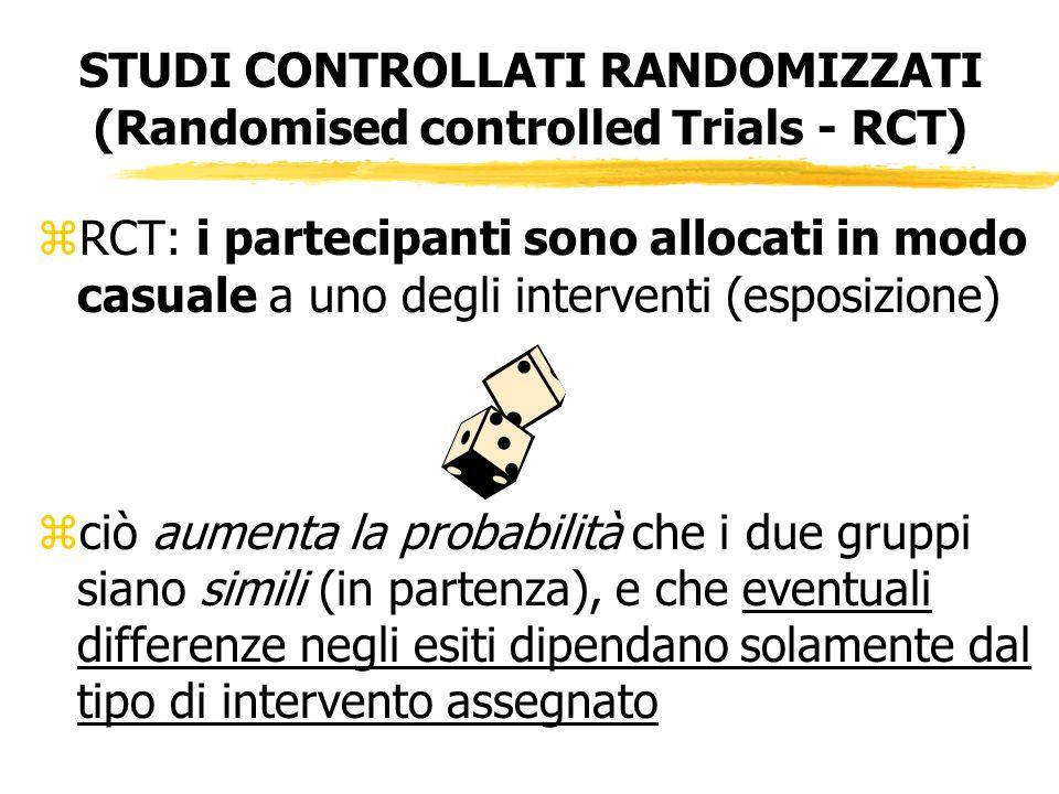 STUDI CONTROLLATI RANDOMIZZATI (Randomised controlled Trials - RCT) zRCT: i partecipanti sono allocati in modo casuale a uno degli interventi (esposiz