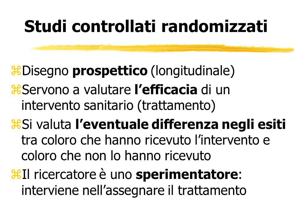 Studi controllati randomizzati zDisegno prospettico (longitudinale) zServono a valutare lefficacia di un intervento sanitario (trattamento) zSi valuta