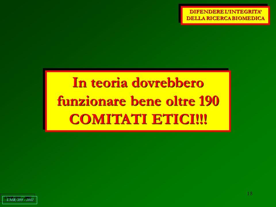 18 DIFENDERE LINTEGRITA DELLA RICERCA BIOMEDICA UMR/ISS - 2002 In teoria dovrebbero funzionare bene oltre 190 COMITATI ETICI!!!