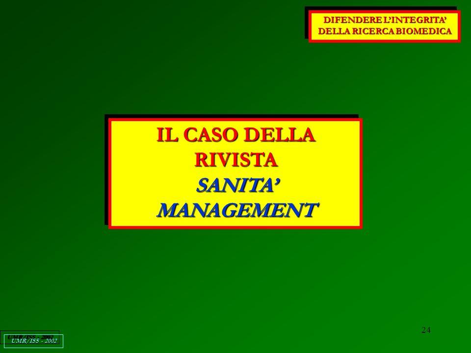 24 DIFENDERE LINTEGRITA DELLA RICERCA BIOMEDICA UMR/ISS - 2002 IL CASO DELLA RIVISTA SANITA MANAGEMENT IL CASO DELLA RIVISTA SANITA MANAGEMENT
