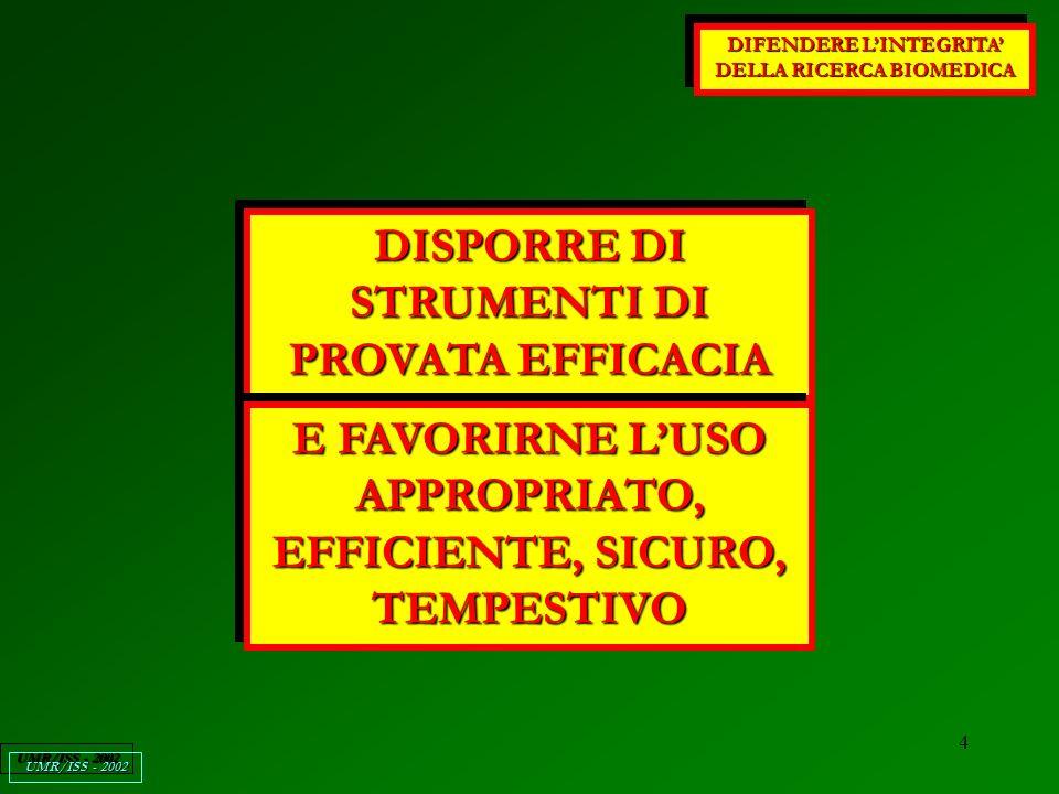 5 DIFENDERE LINTEGRITA DELLA RICERCA BIOMEDICA UMR/ISS - 2002 DISPORRE DI STRUMENTI DI PROVATA EFFICACIA