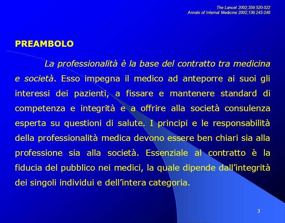 3 PREAMBOLO La professionalità è la base del contratto tra medicina e società.