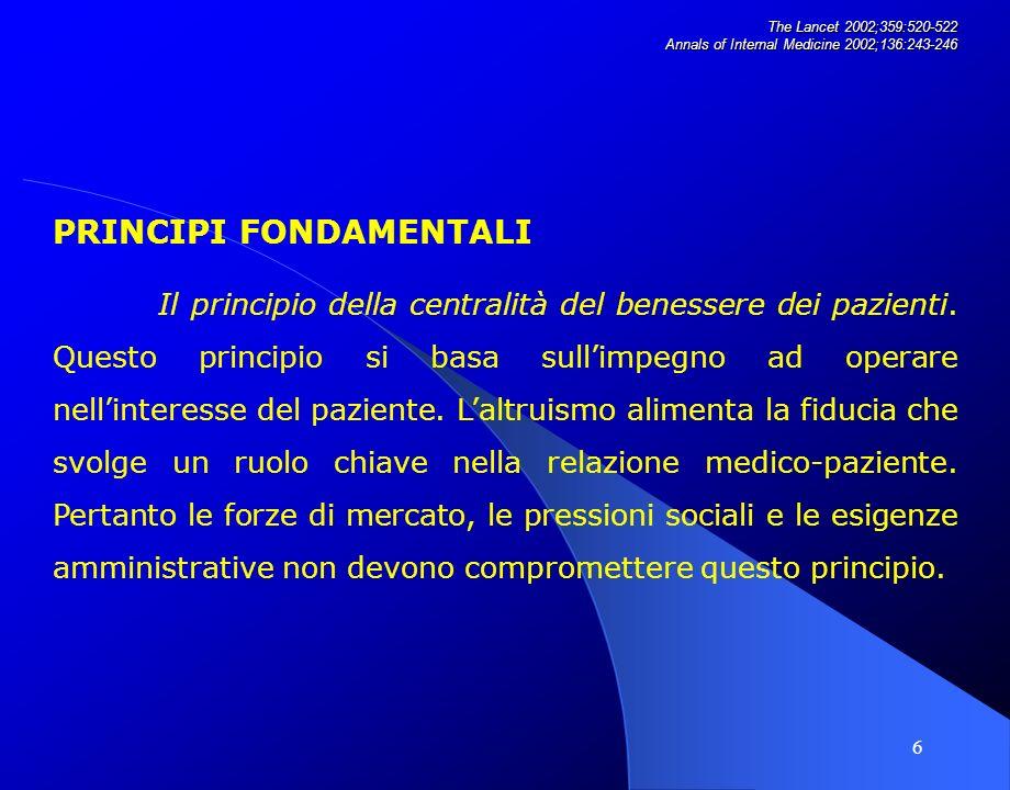17 The Lancet 2002;359:520-522 Annals of Internal Medicine 2002;136:243-246 Impegno a conservare la fiducia, affrontando i conflitti dinteresse.