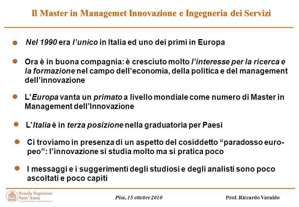 Il Master in Managemet Innovazione e Ingegneria dei Servizi Pisa, 15 ottobre 2010 Prof.