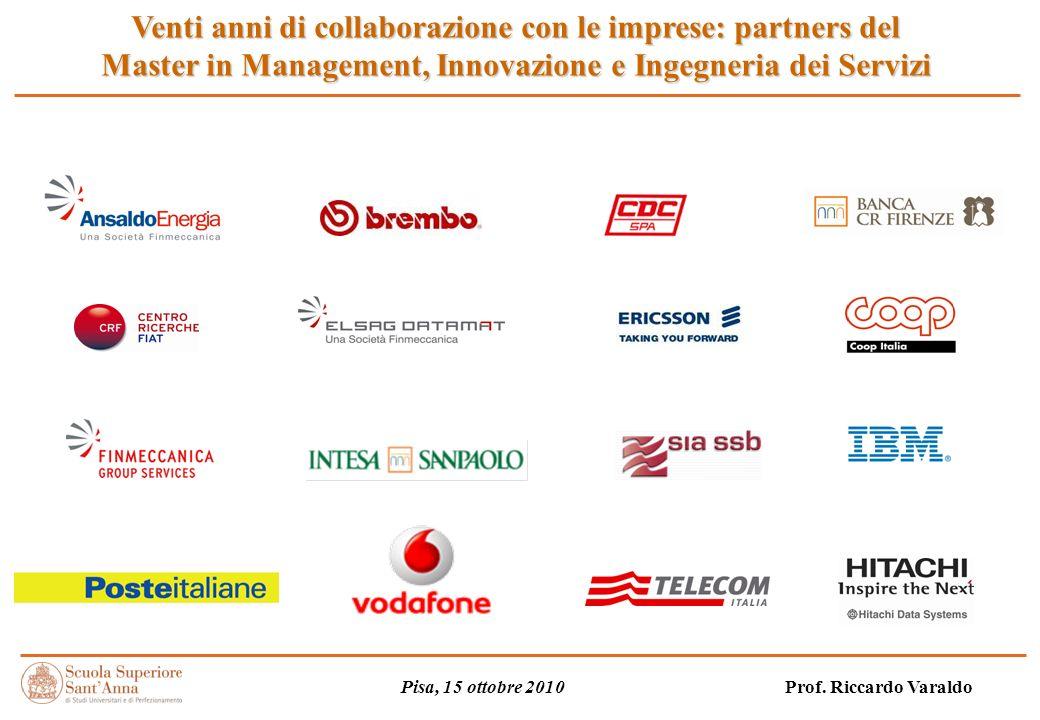 Venti anni di collaborazione con le imprese: partners del Master in Management, Innovazione e Ingegneria dei Servizi Pisa, 15 ottobre 2010 Prof.